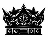 Black Silhouette : Crown Symbol — Stock Vector