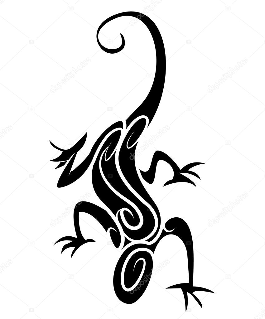 black silhouette lizard tribal tattoo stock vector funwayillustration 62314719. Black Bedroom Furniture Sets. Home Design Ideas
