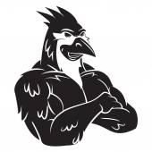 Cardinal Bird Mascot Tattoo — Stock Vector