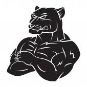 Panther Strong Mascot Tattoo — Vector de stock
