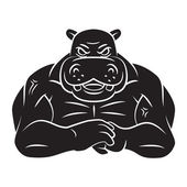 Hippo strong mascot Tattoo — Stock Vector