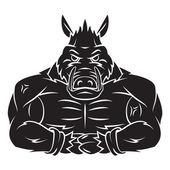 Wild Boar Strong Mascot Tattoo — Stock Vector