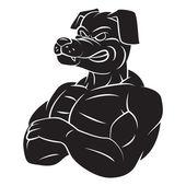 Dog Strong Mascot Tattoo — Stock Vector