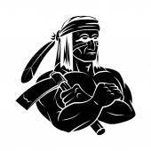 Apache Mascot tattoo — Stock Vector