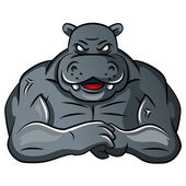 Hippo strong mascot — Stock Vector