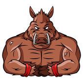 Wild Boar Strong Mascot — Stock Vector