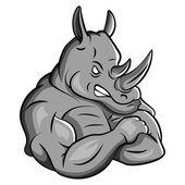 Rhino Strong Mascot — Stock Vector