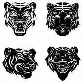 Tigers set collection — Stock Vector