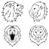 Lions set collection — Stock Vector