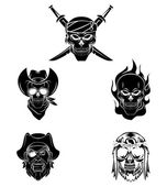 Skulls set collection — Stock Vector