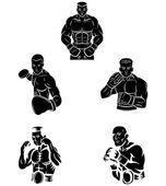 Boxer set collection — Stock Vector