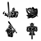 Knights Warriors set collection — Stock Vector