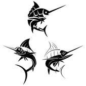 Marlin Fish Symbol Set — Stock Vector