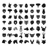 Animal heads set collection tattoo — Stock Vector