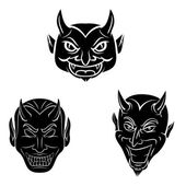 Devil Head Tattoo Collecction — Vector de stock