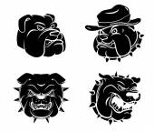 Dog Heads Tattoo set — Stock Vector