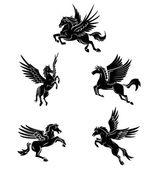 Tattoo Symbol Of Horse Wing Tattoo — Stock Vector
