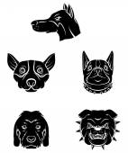 Tattoo Symbol Of Dog Heads — Stock Vector