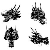 Dragon Heads Collection — Vector de stock