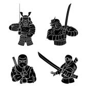 Samurai and Ninja Collection — Stock Vector