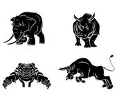 Elephant,Rhino,Tiger and Bull Collection — Stock Vector
