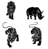 Wolf,Tigers and Rhino Tattoo Collection — Stock Vector