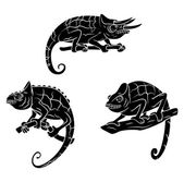 Chameleons set collection — Stock Vector