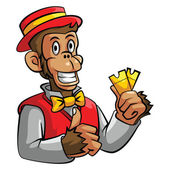Monkey selling ticket — Vector de stock