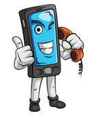 Mascot Cell Phone — Stock Vector