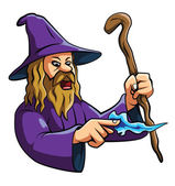 Old wizard casts a spell — Stock Vector