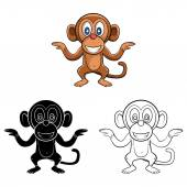 Monkeys Dance collection — Stock Vector