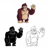 Cartoon Gorillas collection — Stock Vector