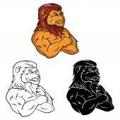 Tattoo Symbol Of Lion Heads — Vector de stock