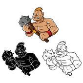 Strong Trolls mascot — Stock Vector