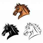 Heads Symbol Of Horses — Stock Vector