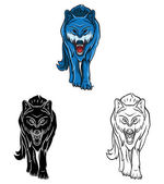 Wolfs set collection — Stock Vector