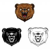 Bear heads collection — Vettoriale Stock