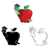 Apples with caterpillars Collection — 图库矢量图片