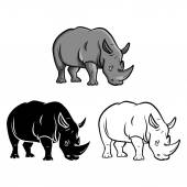 Rhinos tattoo Collection — Stock Vector