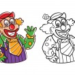Coloring book Clown cartoon character — Stock Vector #67306111