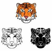 Coloring book Tiger Face cartoon character — Stock Vector