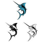 Coloring book Marlin Fish cartoon character — Stock Vector
