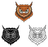 Coloring book Owl head cartoon character — Stock Vector