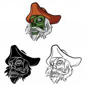 Coloring book Zombie Pirate cartoon character — Stock Vector