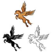 Coloring book Horse Wings cartoon character — Stock Vector