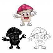 Coloring book Mushroom Smile cartoon character — Stock Vector