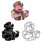 Coloring book Cowboy Pig cartoon character — Stock Vector