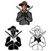 Coloring book Cowboy cartoon character — Stock Vector