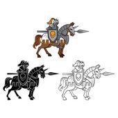 Coloring book Knight Rider cartoon character — Stock Vector