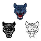 Coloring book Wolf Face Mascot cartoon character — Stock Vector